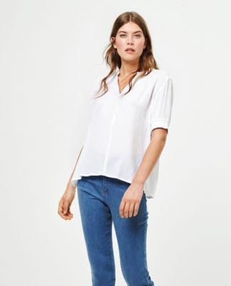 Blusa bianca maniche corte con elastico Surkana