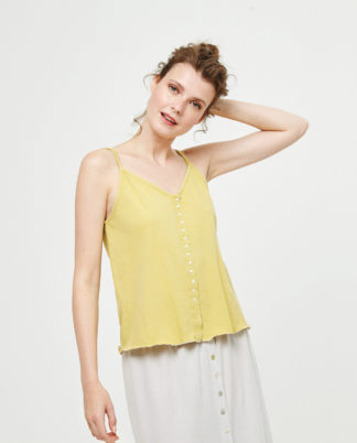 Top giallo con bretelle e bottoni in cotone by Surkana