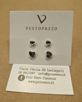 Orecchini 2 paia di cuori by Vestopazzo