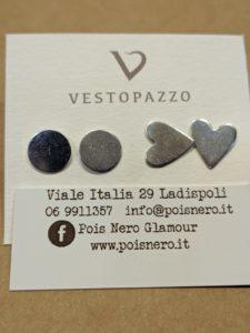 Orecchini tondo e cuore by Vestopazzo