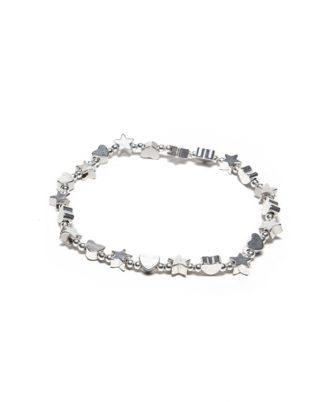 Bracciale elastico stelle lucide. Bigiotteria placcata in argento, nickel tested by Vestopazzo. Tessuti naturali e bijoux hand made