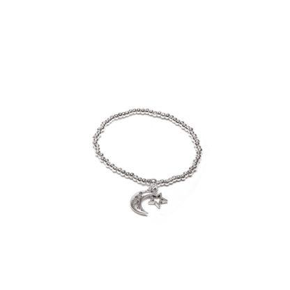Bracciale elastico charm stella e luna. Bigiotteria placcata in argento, nickel tested by Vestopazzo
