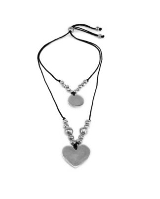 Pendente 2 fili tondo e cuore in alluminio riciclato