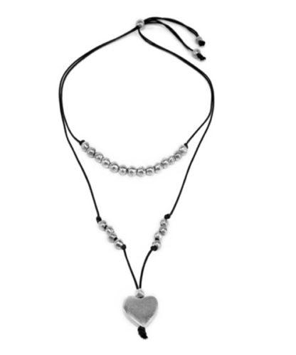 Collana 2 fili palline e cuore