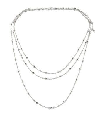 Collana 180 cm 1 filo. Placcata argento, nichel tested