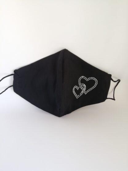 Mascherina nera strass doppio cuore, in cotone, lavabile e riutilizzabile.