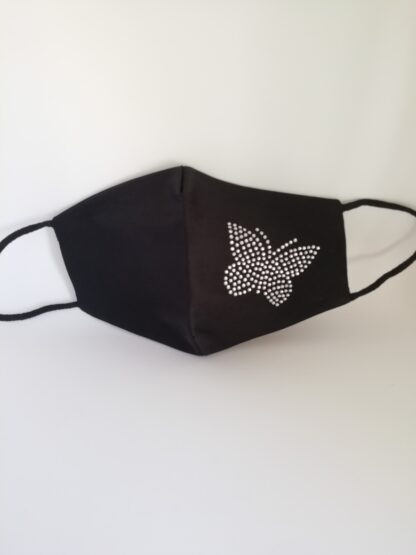 Mascherina nera strass Farfalla, in cotone, lavabile e riutilizzabile.
