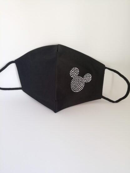 Mascherina nera strass Topolino, in cotone, lavabile e riutilizzabile.