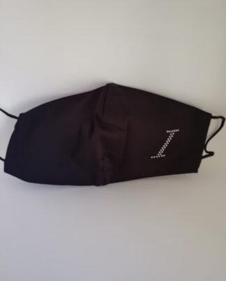 Mascherina nera in tessuto lavabile, personalizzata con iniziale nome