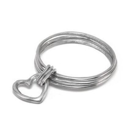 Bracciale rigido 2 tondi e cuore in alluminio riciclato