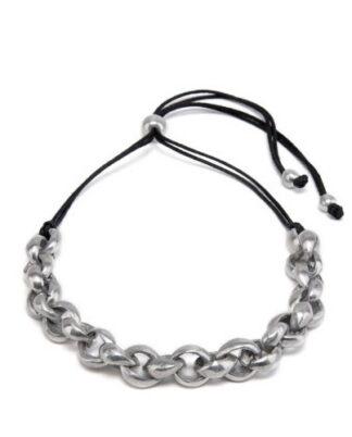 Collana corta anelli concatenati con sfere. Alluminio riciclato
