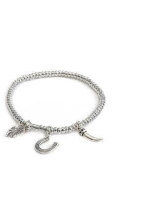 Bracciale elastico 3 ciondoli portafortuna