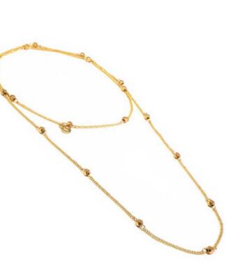Collana catena lunga diamanti in ottone