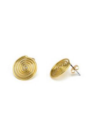 Orecchini a spirale con chiusura a farfalla. Ottone, no nichel. In vendita da Pois Nero Ladispoli e su www.poisnero.it