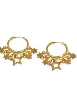 Orecchini cerchio con stelle. Ottone, no nichel. In vendita da Pois Nero Ladispoli e su www.poisnero.it