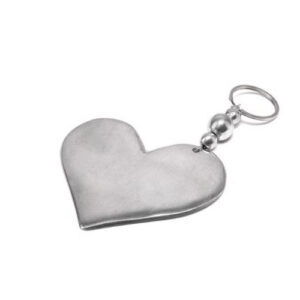Portachiavi cuore grande pieno in alluminio riciclato