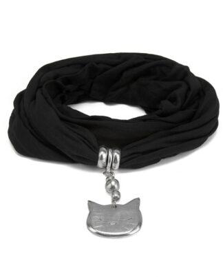 Sciarpa nero con gioiello in alluminio Spirale. Tessuto morbido e caldo. Gioiello privo nichel.