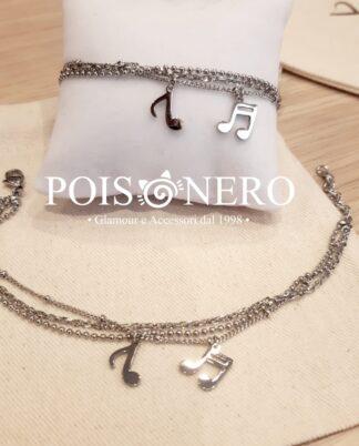 Bracciale note musicali. Puro acciaio, inalterabile, no nichel.Pois Nero Ladispoli o su www.poisnero.it