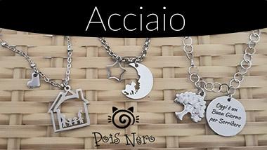 Bijoux in acciaio. Esclusiva Pois Nero Ladispoli e su www.poisnero.it