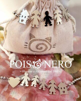 Bracciale Famiglia, cuore e casa.Puro acciaio, inalterabile, no nichel.Pois Nero Ladispoli o su www.poisnero.it