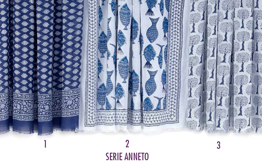 Foulard serie Anneto. Cotone 100% - 110x180 cm