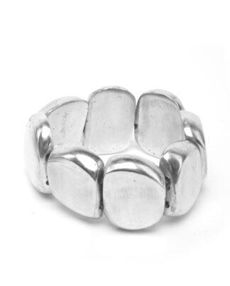 Bracciale elastico 8 elementi irregolari realizzato in alluminio 100% riciclato, anallergico e inossidabile