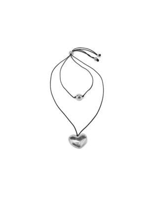 Collana 2 fili e cuore in alluminio riciclato