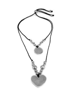 Collana filo fino – 2 fili con sfere e pendenti cerchio/cuore in Alluminio 100% riciclato