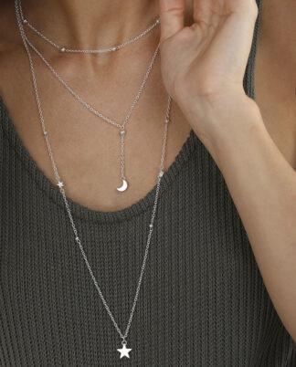 Collana 3 fili sella e luna, bigiotteria placcata in argento, nickel tested.