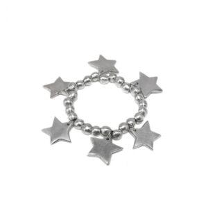 Bracciale elastico sfere e stelle realizzato in alluminio riciclato 100%, lavorato a mano dai nostri artigiani. Anallergico e inossidabile