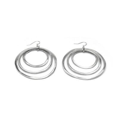 Orecchini 3 cerchi concentrici in alluminio riciclato, anallergici.
