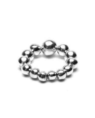 Bracciale elastico sfere irregolari in alluminio riciclato