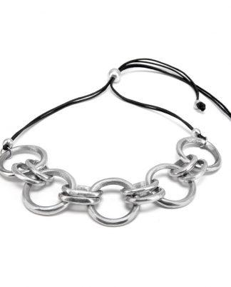 Collana catena 5 cerchi concatenati, in alluminio riciclato, no nichel.