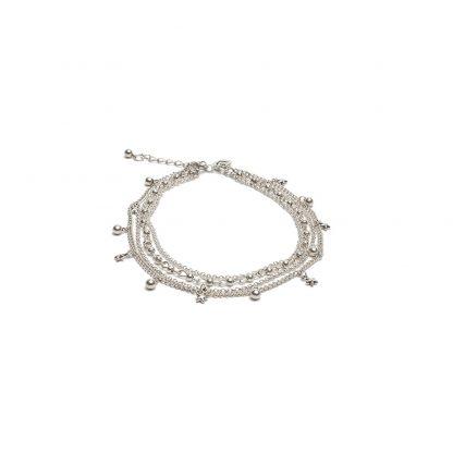 Cavigliera 4 catene stelle e sfere con elementi placcati in argento. bigiotteria nickel teste