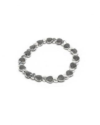Bracciale elastico mix cuori puntinati Silver Plated, anallergico.