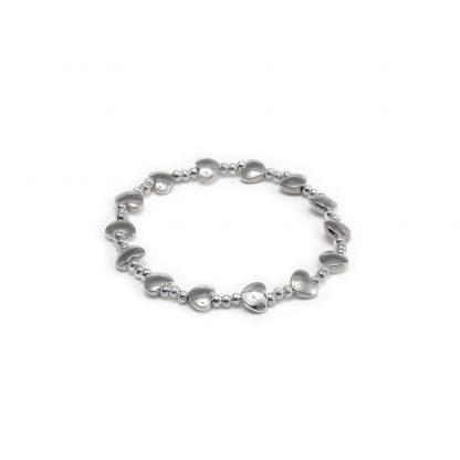 Bracciale elastico placcato in argento multi cuori bombati, anallergico e no nichel.