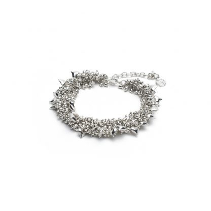 Bracciale lavorazione mogra con micro sfere/cuori placcato in argento