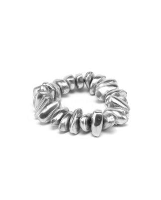 Bracciale elastico pepite in alluminio riciclato, no nickel, inalterabile nel tempo.