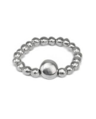 Bracciale elastico sfere con sfera centrale grande in alluminio riciclato, no nichel ed anallergico.