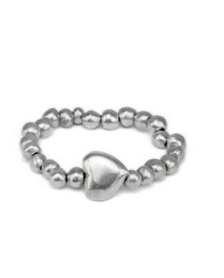 Bracciale elastico sfere e cuore in alluminio riciclato, no nichel ed anallergico.