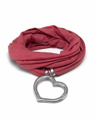 Sciarpa gioiello color Salmone con gioiello a forma di cuore vuoto bombato