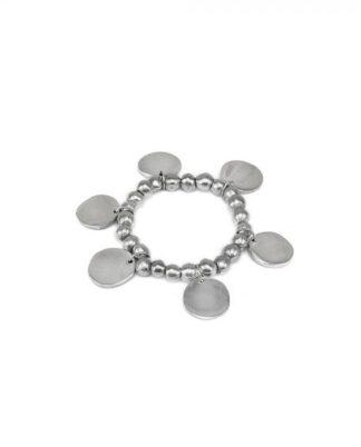 Bracciale elastico con ciondoli tondi. Realizzato a mano in alluminio 100% riciclato.