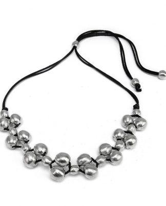 Collana filo a sfere intrecciate in alluminio riciclato