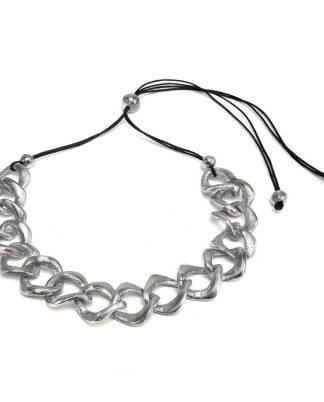 Collana filo con catena a rombi in alluminio riciclato