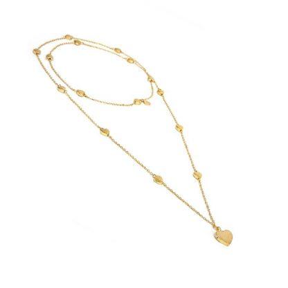 Collana catena lunga con inserti a forma di cuore. Lavorazione artigianale in ottone. Anallergica e nickel tested.